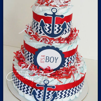 Nautical Diaper Cake, Nautical Baby Shower , Sailboat Theme, Baby Shower Decorations, Nautical Mini Diaper cakes