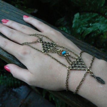 dreamcatcher geometric slave bracelet turquoise and amber steampunk New Age Indie Moroccan belly dancer Tribal Native gothic gypsy style