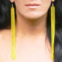 Extra Long Earrings. Lemon Yellow Earrings. Shoulder Duster Earrings. Beadwork.