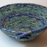 Coiled Fabric Basket, Coiled Fabric Bowl, decorative bowl, teal/violet