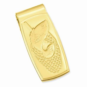 Gold-plated Fish in Net Hinged Money Clip - Engravable Personalized Gift Item