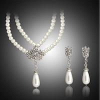 Faux Pearl and Rhinestones - Two Strand Necklace with Water Drop Pendant & Earrings