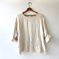 vintage natural linen top. minimalist shirt. cropped linen blouse. baggy oversized fit
