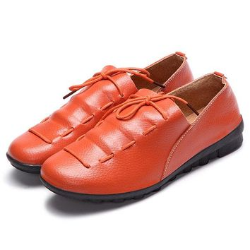 Lace Up Soft Leather Pure Color Flat Loafer Shoes