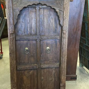 Antique Jharokha Teak Window Terrace Arched Vintage Rustic Solid Earthy Doorm Indian Hand Carved Wall Sculpture