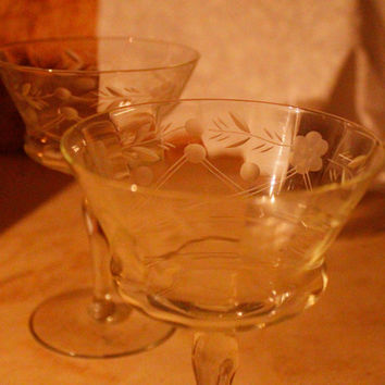 A Set of Two Vintage Etched Wine/Cordial Glasses, Champagne Coupes  - Floral and Leaf pattern