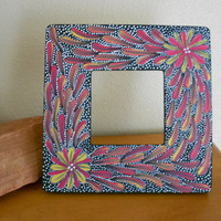 Painted Frame Red and Yellow Flowers by Acires on Etsy