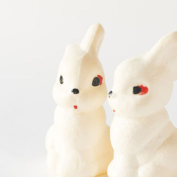 RESERVED Vintage rabbits white toys plastic hares Russian children toys arctic hares toys 70s