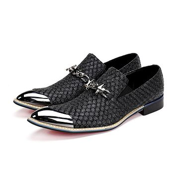 Free Shipping 2019 new style Genuine Leather Loafers Men leather shoes Men's Flats Men Metal Tip Wedding shoes