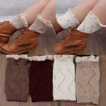 M-TARA Women's Fashion Crochet Knitted Leg Warmers Lace Trim Toppers Boot Socks Cuffs 1 Pair = 1946083972