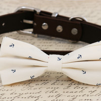Anchor dog bow tie attached to collar, Pet wedding accessory, beach wedding