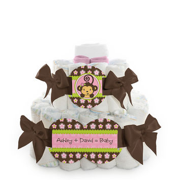 Monkey Girl - Personalized Baby Shower Square Diaper Cakes - 2 Tier