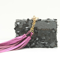 CAVIAR / Sequin & Leather tassel box clutch - OOAK - Ready to Ship