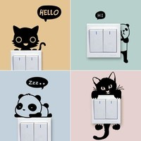1 Set of 4pcs Cartoon cats panda Removable Cute animals Switch Wall Sticker