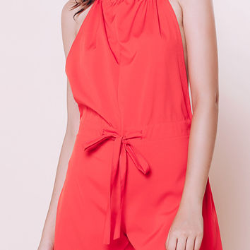 Sleeveless Backless Halter Red Romper