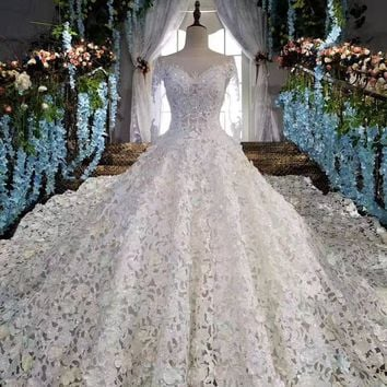Luxury Cathedral Train Crystal Wedding Dresses Princess Designer Wedding Gowns Satin Full Embroidered Hollow Out Skirt Ball Gown