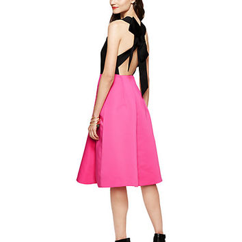 Kate Spade Colorblock Bow Back Dress Black/Pink Swirl