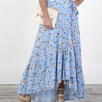 Light Blue Floral Wrap Skirt