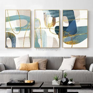 Gold Abstract painting acrylic paintings on canvas huge size original painting 3 pieces Wall Art hand painted Home Decor cuadros abstractos