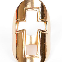 Cross Cutout Shield Ring $12
