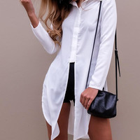 White Pointed Collar Buttoned High Split Long Blouse