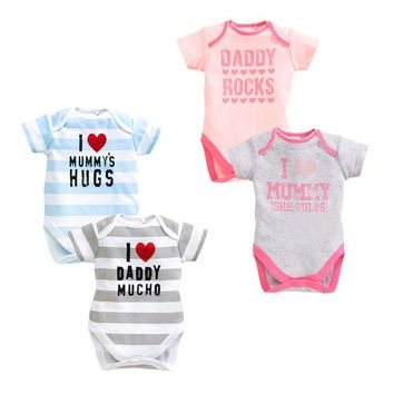 1PC Cotton Body Baby Boy Bodysuit Newborn Baby Clothes I Love Daddy Short Sleeve Body Baby Girl Clothes