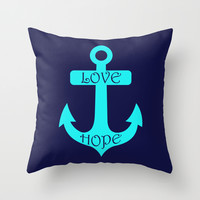 Anchor Navy Turquoise Throw Pillow by Beautiful Homes