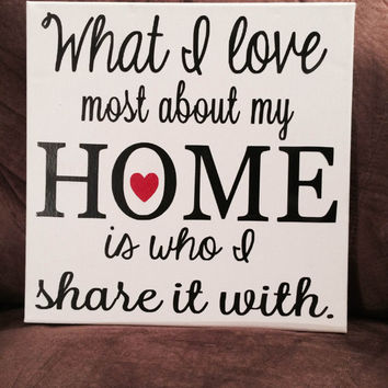 What I love Most About My Home Is Who I Share It With Canvas
