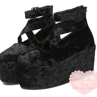 Velvet-look Cross Buckle Platforms