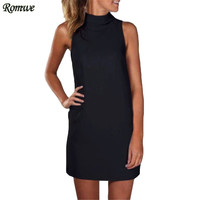 ROMWE Ladies Plain High Neck Tank Dresses Womens Summer Fashion New Arrival Casual Sleeveless Straight Short Dress