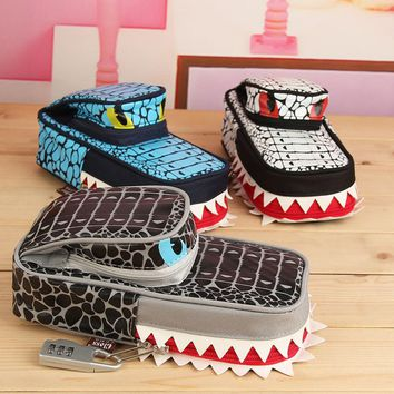 New Arrival Creative Shark Style Pencil Case For Boys Children Pen Pouch Pencil Bag School Student Stationery