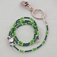 Panda Lampwork and Green Seed Bead Lanyard, ID Badge Lanyard, Animal Lanyard, Cute Lanyard, Key Ring Lanyard