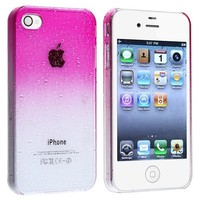 Insten® Snap-on Case compatible with Apple® iPhone® 4 / 4S , Clear Hot Pink Waterdrop Ultra Thin