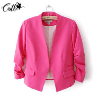 European Style Ladies Blazers 2016 Candy Puff Sleeve Women Short Blazer Formal Jacket Crop Top Feminino Coat Plus Size S-XL