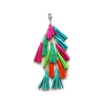 Leather Tassel Keychain, Fringe Purse Clip, Leather Key Fob, Neon Colorful Tribal Accessories