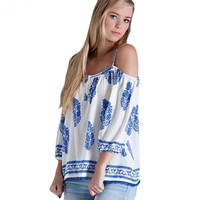 Ladies Women Fashion Off-Shoulder 3/4 Sleeve Strap Print Loose Casual Leisure Tops Blouse