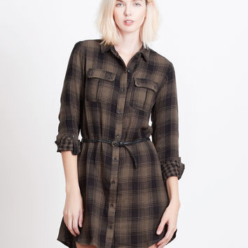 LE3NO Womens Plaid Button Down Tunic Dress with Roll Up Sleeves
