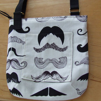Mustache Hip style shoulder purse or cross body bag