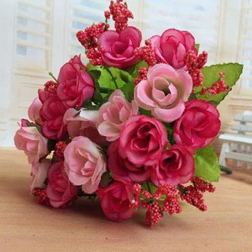 Sweet A Bouquet of Living Room Wedding Party Decor Artificial Rose