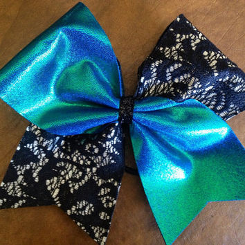 Cheer Bow - Teal and Lace