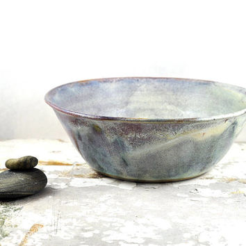 Handmade Ceramic Bowl - Serving Bowl - Noodle Bowl - Fruit Bowl - Salad Bowl - White Pink - Unique Pottery - Home Decor - Dawn Whitehand