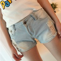 Vintage Destroyed Jeans Shorts for Summer