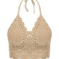 Women's Sexy Crochet Crop Hollow Out Knit Bikini Top Bra Halter Bralette