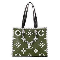LV hot seller of fashionable printed patchwork color casual shopping shoulder bag for ladies Green