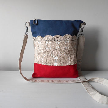Navy Canvas Crossbody Bag, Crossover Shoulder Bag, Zippered Crossbody Purse, Lace Handbag, Nautical Bag, Gift For Her, Linen Bag