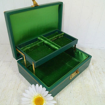 Vintage Christmas Green Leather Jewelry Box with Gold Tooled Trim - Retro Mele Style Display Case with Dark Green Velvet Two Level Interior