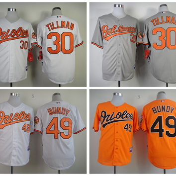 Baltimore Orioles 30 Chris Tillman Jersey Grey Orange White 49 Dylan Bundy Baseball Jerseys Cheap Team Color Fashion All Stitching Quality