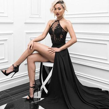 Black High Slit Lace Long Prom Dress
