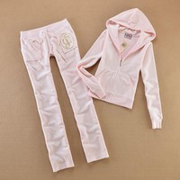 Juicy Couture Studded Luxurious Jc Velour Tracksuit 8606 2pcs Women Suits Light Pink
