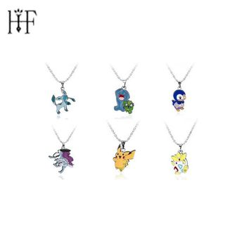 Pokemon Go Cute Squirtle Vaporeon Figure Choker Necklace & Pendants Pokemon Pokeball Necklace Pocket Monster Toy Collection Gift
